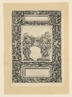 Vertical rectangle. Proof before lettering.  Three rectangular panels inserted on a strapwork background. The central panel shows an escutcheon of a helmet supported on intertwined acanthus leaves. The upper rectangle with rounded corners, as well as the lower rectangle, both have a nail-head border with projecting strapwork elements.