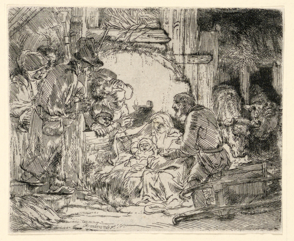 Print, The Adoration of the Shepherds: with the Lamp, ca. 1654