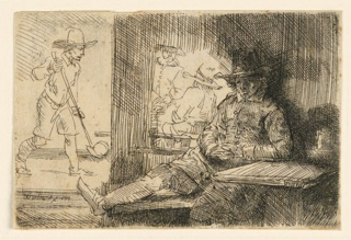 """Interior with four en. At right, foreground, one man is seated at a table, dozing. To left, background, another man stands, holding a """"golf"""" stick in his hand."""