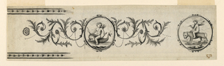 An ovoidal medallion with cupid riding a dolphin is flanked by rinceaux. Verso: an ovoidal frieze is bordered by bands with laural garlands on top and bottom edge. The landscape consists of trees, plants, a house, a bridge, a gate, a poplar alley. Some men are shown, three of them near monumental Hermae. Bottom left: a part of a leaf border.