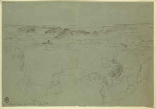 Recto: Horizontal view of the canyon. Verso: horizontal unfinished sketch of a part of the Grand Canyon.