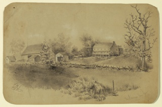 View of a large farmhouse with surrounding fields and barn.