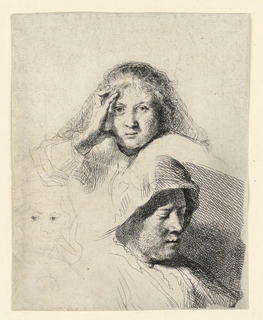 Print, Three Heads of Women, One Lightly Etched