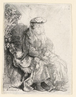 Print, Abraham Caressing Isaac, ca. 1637