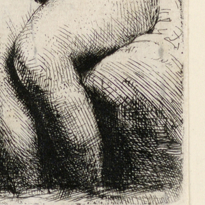 Seated nude woman. Her head is seen in profile turned left, and the upper portion of her body also turns left. Heavily shaded background.