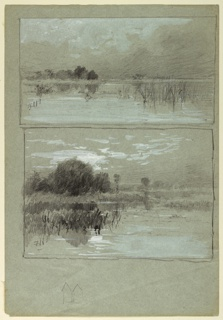 Two sketches of a lake shore.