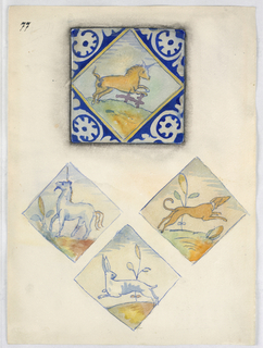 At top, a view of a tile with a unicorn surrounded with abstract cobalt design. Below, the central motif of three tiles, showing a unicorn, hound and hare.