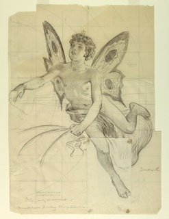 Vertical rectangle. Figure of a boy with butterfly wings, a star on his head; left leg raised, foot held out behind; right arm held out to side, left arm crossed in front of body as hand holds rein.