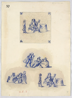 At top, a view of a tile with a man seated at a table, removing his hat with one hand and raising a glass with another. A figure with an ewer stands at this left. Butterflies in the corner. Crazing on the tile is reproduced. Below, the central motif of three tiles, showing figures seated at tables.