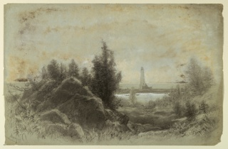 Horizontal view of landscape with trees and a bank in the foreground followed by water and a lighthouse in the middleground.