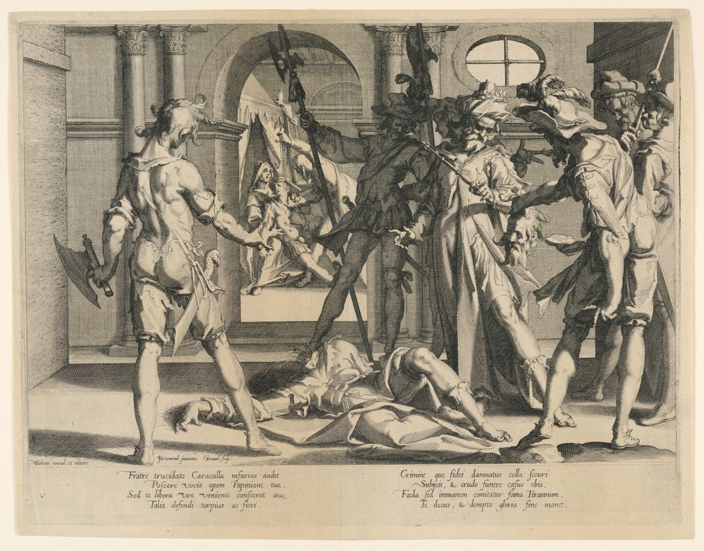 """Print, The Beheading of the Roman Judge Papinian, Plate 5 from """"Thronus Justitiae"""""""