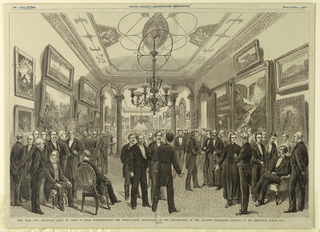 Print, New York City.–Reception Given by Cyrus W. Field, Commemorating the Twenty-Fifth Anniversary of the Organization of the Atlantic Telegraph Company, at His Residence, March 10th., March 22, 1879