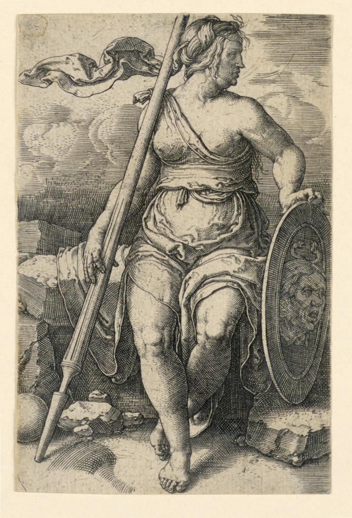 The goddess is seen in full-length, seated, facing the spectator, her head turned sharply to the right. She holds her shield in her left hand; her lance in her right hand.