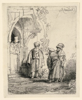 Print, Three Oriental Figures (Jacob and Laban?), 1641