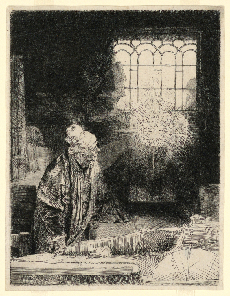 Print, Faust in His Study, Watching a Magic Disc, ca. 1652