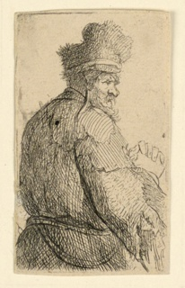 Three-quarter length figure of a man, seen from behind, facing right in profile. His hands are clasped behind him.