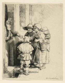 Print, Beggars Receiving Alms at the Door of a House, 1648