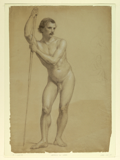 Drawing, Male Nude Standing, Two S, 1866