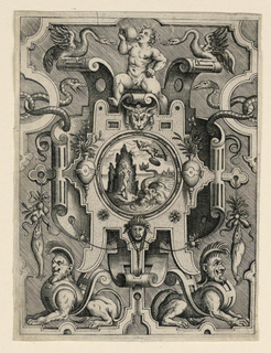 Print, Strapwork Grotesque with Mythological Scene