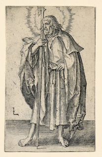 """A full-length figure of the saint, standing, facing the spectator, the head turned sharply to the left. His left hand is on his hip, the right hand holds a halberd. The monogram of the artist, """"L,"""" appears at lower left."""