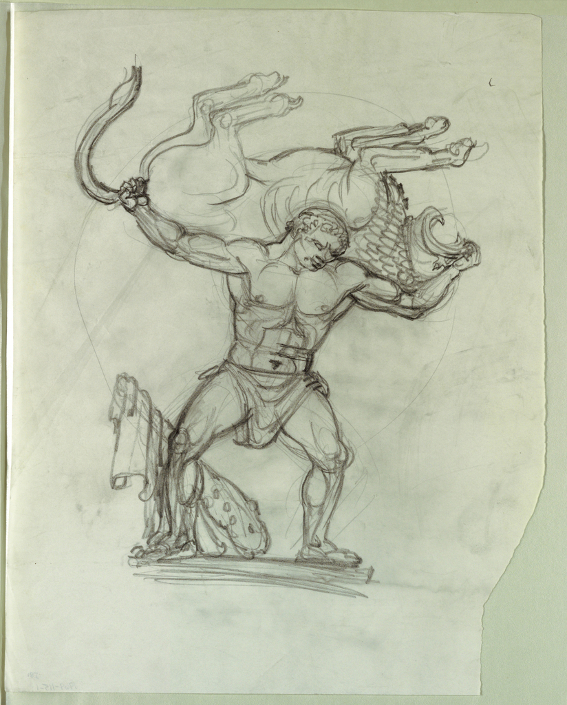 """Drawing, Study for Fountain Figure for Series """"The Labors of Hercules,"""" for Theodore Roosevelt Memorial, Washington, DC, 1965"""
