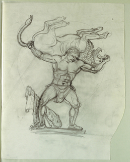 "Drawing, Study for Fountain Figure for Series ""The Labors of Hercules,"" for Theodore Roosevelt Memorial, Washington, DC, 1965"