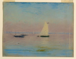 Distant view of a shore across water with three moored boats. Sunset. High clear sky.