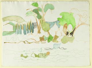 Recto: Landscape of trees along a coastline; Verso: Sketch of female figures.