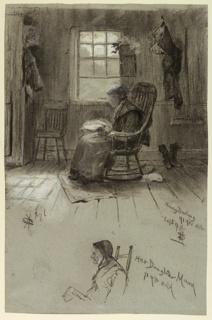 Portrait of Nancy Darling in a rocking chair in front of a cabin's open window.