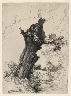 A tall strump of a tree occupies the center of the composition. Beside it, right, the Saint sits befor an improvized desk, writing. The head of a lion appears behind the tree, left.