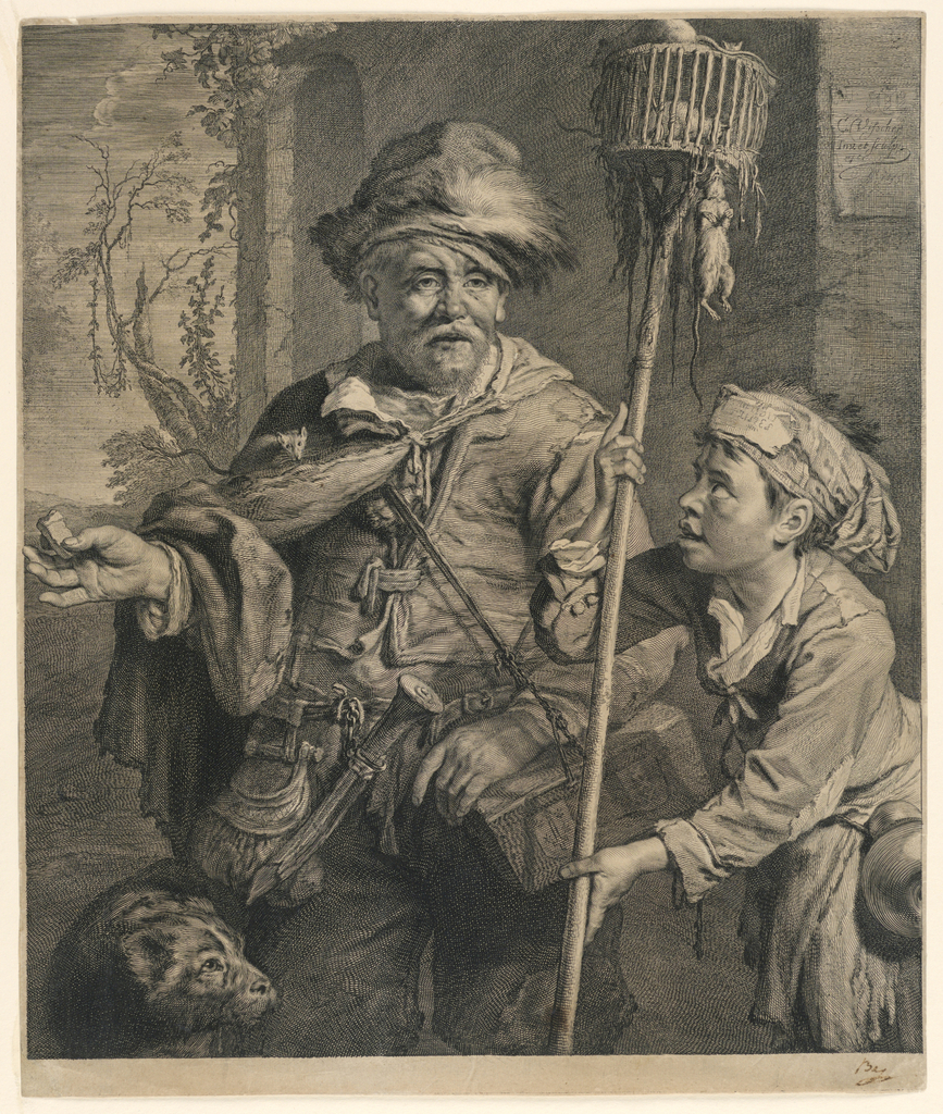 """In mid-foreground an old man standing in frontal position looking to right. He is seen up to his knees. At left, a dog; at right, a boy looking to left and holding a mouse-trap on a pole. Inscribed, upper right: """"C. Visscher inv. et sculp. exec 1655."""""""