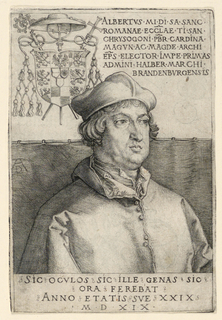 Portrait of Albrecht of Brandenburg, Cardinal and Elector of Mayence; upper left, coat of arms. Inscription in upper right and another inscription below portrait in margin. Verso: lettering and book ornament showing that this is from the book published in 1524.