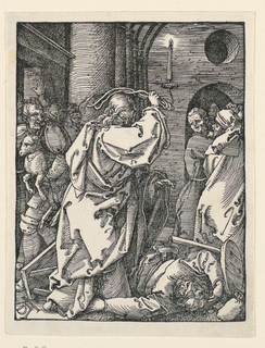 Interior of the temple, with Christ in the foreground, listing his whip about his head. A man lies prone at his feet. Other men in the background, left and right. Monogram of Dürer, lower left.