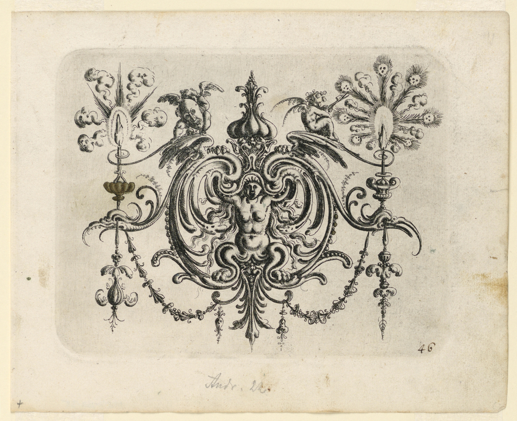 Ornamental cartouche composed of auricular, cartilage-like forms with a winged, turbaned man with bird legs and wings for arms. Above, two fantastic beasts hold garlands, and at either side, dragons.