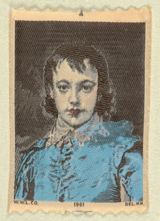 """Woven souvenir based on the painting 'The Blue Boy' (c. 1770) by Thomas Gainsborough (1727-1788). """"W.W.L. CO. 1961 DEL. H.H."""" appears below the portrait.  Blue, black, red, and salmon on white warp."""