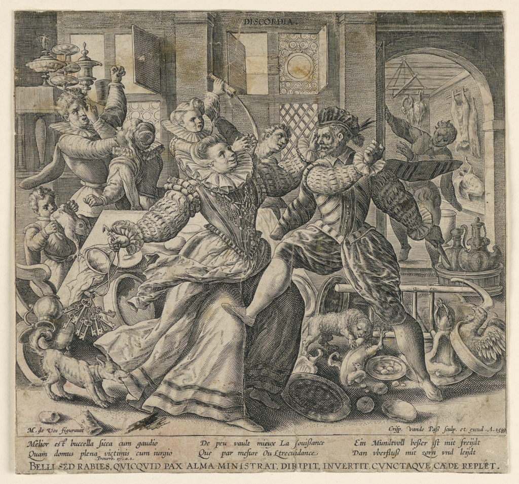 """Horizontal rectangle. Interior, with men and women reacting violently toward one another amidst a scene of confusion. In the foreground a woman, at left, swings her keys toward a man holding a knife. In the background two couples are battling. Title in plate above, center. At lower left: """"M. de Vos figuravit."""" At lower right: """"Crisp. van de Pass Sculp. et excud. A. 1589."""" Followed by proverb in three languages."""