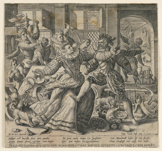 "Horizontal rectangle. Interior, with men and women reacting violently toward one another amidst a scene of confusion. In the foreground a woman, at left, swings her keys toward a man holding a knife. In the background two couples are battling. Title in plate above, center. At lower left: ""M. de Vos figuravit."" At lower right: ""Crisp. van de Pass Sculp. et excud. A. 1589."" Followed by proverb in three languages."
