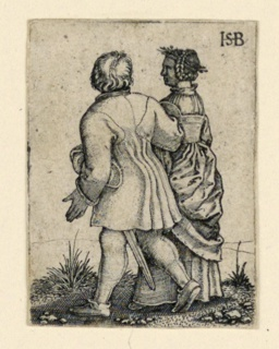 Print, The Wedding Procession: Couple walking left, facing away, ca. 1545
