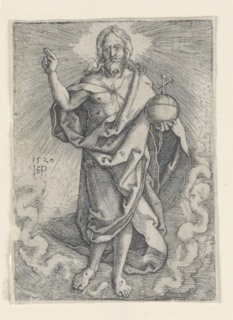 The figure of Christ is shown standing on a cloud, holding the orb in his left hand, and giving the benediction with his right. Stigmata wounds visible at his feet.