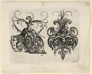 Ornamental cartouche, right, composed of an auricular, cartilage-like form showing a grotesque mask, edged in bead-work and feathers. At left, a snail-like animal being pushed forward by an ox with feathers for horns.