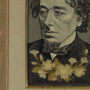 Woven portrait of Prime Minister Benjamin Disraeli, the Earl of Beaconsfield.