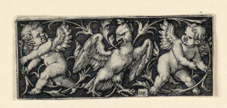 Print, Frieze with two putti fleeing from an eagle