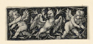 Print, Frieze with two putti fleeing from an eagle, ca. 1544