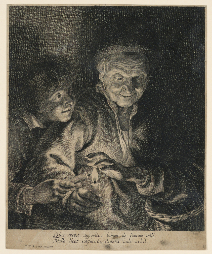 """Half-figures of a woman and a boy by candlelight. The woman, turned to right, looking down on a burning candle in her right hand. A boy, left, takes light for his candle from hers. Inscribed, lower left: """"Peter Paul Rubens inuenit""""; center: Quis vetot apposite, lumen de lumine tolli./Mille licet capiant, deperit inde nihil."""""""