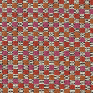 White warp and black weft with pink and orange supplementary weft that form checks. 2 sides are serged and 2 sides are cut. Number 114.