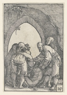 Interior of a cave, the entrance to which is seen in the background. The body of Christ is seen in the foreground being lifted by two men. Three other figures are shown. Artist's monogram at lower right.
