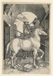 """Copy in reverse of Albrecht Dürer's 'The Small Horse.' The horse and the rider are facing toward the right. Only the date """"1505"""" in the arcade not reversed. Slightly smaller than Dürer's."""