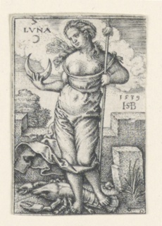 """The figure of the Moon stands, facing the viewer. She holds a staff in her left hand; the crescent moon in her right hand. She is accompanied by Cancer (the crab). At upper left the word """"LUNA"""" and the symbol for silver."""