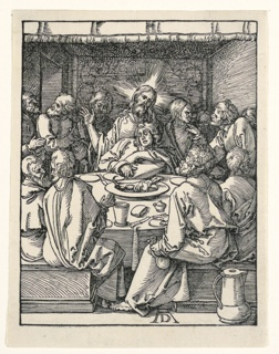 Interior with Christ and his disciples seated about a round table. Christ faces the spectator, support Saint John with his left arm. Judas Iscariot is seated in the foreground, right. Monogram of Dürer near center, below.
