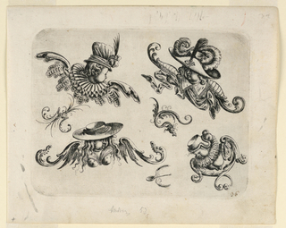 Four human heads with wings wearing various hats and clothing. Also shown are a flying snake, insect and spoon.
